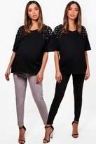 boohoo Maternity Fifi 2 Pack Jersey Peg Trousers multi