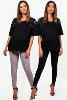 boohoo Maternity Fifi 2 Pack Jersey Peg Trousers