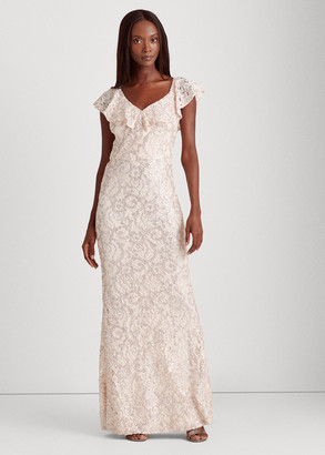 Ralph Lauren Sequin-Lace One-Shoulder Gown