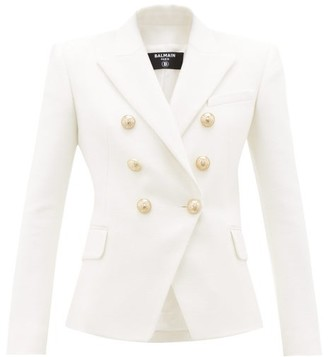 Balmain Double-breasted Tweed Suit Jacket - White