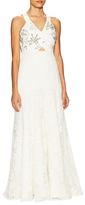 Rebecca Taylor Lace Cotton Embellished Floor Length Gown