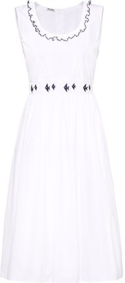 Miu Miu Ruffle-Neck Midi Dress