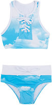 Submarine Sky-Pattern Two-Piece Swimsuit
