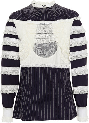 Valentino Lace And Velvet-trimmed Silk Crepe De Chine Top