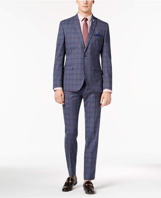 Nick Graham Men Slim-Fit Stretch Denim Blue Plaid Suit