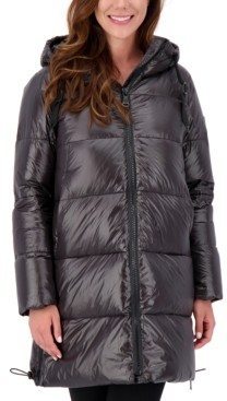 Vince Camuto Petite High-Shine Hooded Puffer Coat