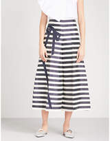 DELPOZO Bow-detailed striped wide linen-blend trousers