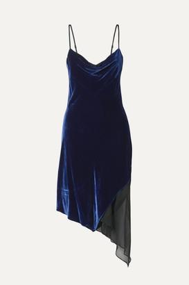 Kiki de Montparnasse Asymmetric Paneled Velvet And Silk-chiffon Dress - Royal blue