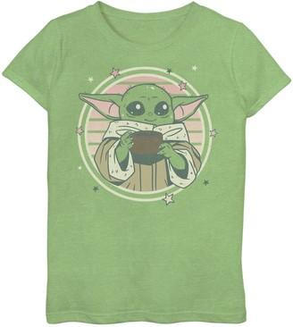 Star Wars Girls 7-16 Cutesy The Child aka Baby Yoda Sipping Graphic Tee