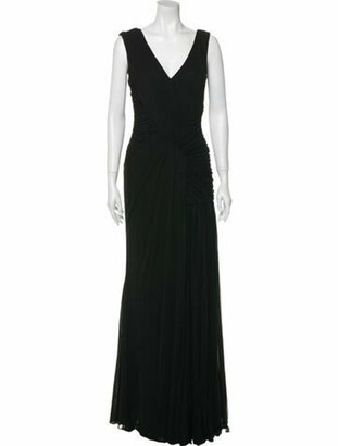 J. Mendel V-Neck Long Dress w/ Tags Black