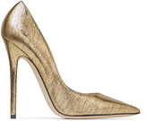 Jimmy Choo ANOUK Metallic Gold Lizard Print Leather Pointed Pumps