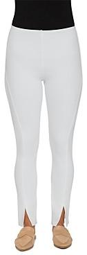 Lysse Front-Slit Denim Leggings in White