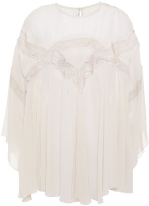 IRO Damino Fluted Guipure Lace-trimmed Crepon Blouse