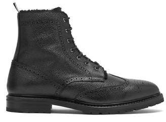Thom Browne Shearling-lined Pebbled-leather Derby Boots - Mens - Black