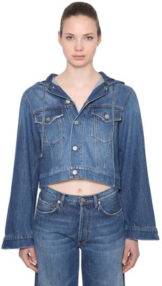 Ganni Hooded Cotton Denim Jacket