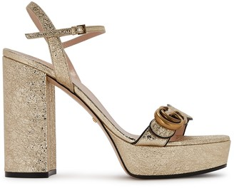 Gucci GG Marmont 140 Gold Leather Sandals