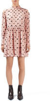 Topshop &Campion& Butterfly Print Silk Babydoll Dress