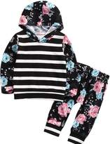 ONE'S Baby Toddler Girls Kid Autumn Floral Stripe Hoodie Sweatshirt Top With Pant Tracksuit (6-12 Months, )