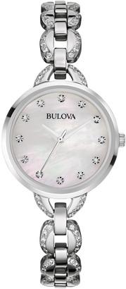 Bulova Women's Swarovski Crystal Accented Link Bracelet Watch, 28mm