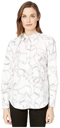 Lauren Ralph Lauren Printed Oxford Button-Down Shirt (White/Grey) Women's Clothing