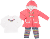 Little Lass Coral & White Jacket Set - Infant