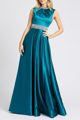 Mac Duggal Bejeweled Satin Pleated A-Line Gown
