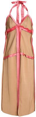 Marni Satin-trimmed Cady Halterneck Midi Dress