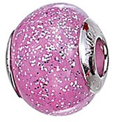 Zable Sterling Silver Pink and Grey Specks Glass Bead