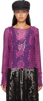 Anna Sui Purple Mesh Posies & Pop Flowers Long Sleeve T-Shirt