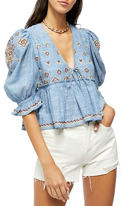 Free People Tallulah Embroidered Top