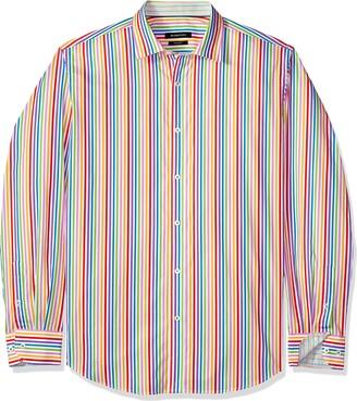 Bugatchi Men's Tailored Fit Candy Stripe Long Sleeve Point Collar Shirt XXL
