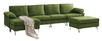 """Ivy Bronx Calista 132"""" Wide Right Hand Facing Sofa & Chaise with Ottoman Fabric: Brown Linen Blend"""