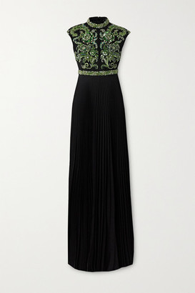 Andrew Gn Pleated Crystal-embellished Silk-blend Crepe Gown - Black