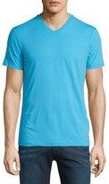 Armani Collezioni Short-Sleeve V-Neck Jersey T-Shirt, Bright Blue