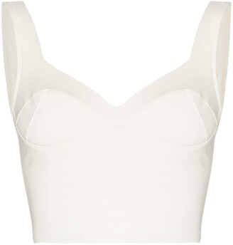 Ernest Leoty Jade sweetheart-neck crop top