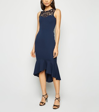 New Look Lace Panel Fishtail Midi Dress