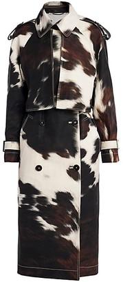 Stella McCartney Leanna Bonded Cow-Print Trench Coat