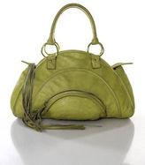 Bulga Green Leather Gold Tone Zip Top Shoulder Handbag
