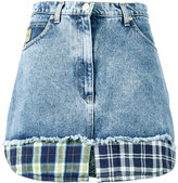 Natasha Zinko check print trimmed denim mini skirt - women - Cotton/Polyester - 36