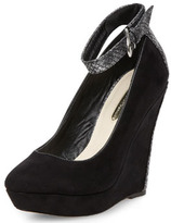 Dorothy Perkins Black and snake pointed wedge