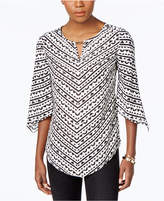 JM Collection Printed Angel-Sleeve Top, Only at Macy's