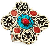 Devon Leigh Coral & Turquoise Adjustable Flower Ring