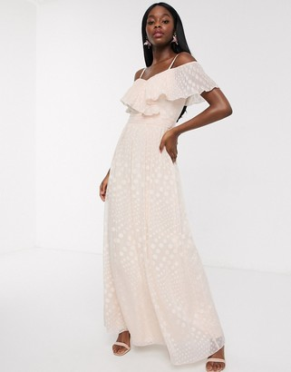 Little Mistress off shoulder maxi dress in blush spot jacquard