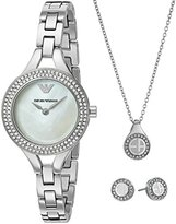 Emporio Armani Women's AR8038 Box Set Stainless Watch Necklace Earrings