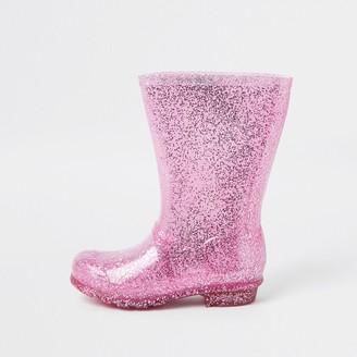 River Island Girls Pink glitter welly