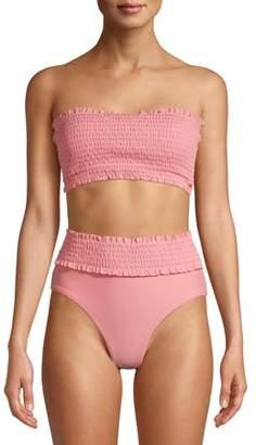 XOXO Womens Strapless Shirred Long Line Bandeau Top and High Waist Bottoms, 2-Piece Set