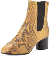 Isabel Marant Danae Python-Embossed Chelsea Boot, Amber Gold