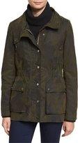 Veronica Beard Glade Funnel-Neck Camo Jacket, Army Green