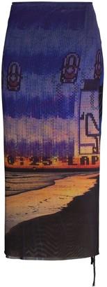 Louisa Ballou High-Waisted Graphic-Print Midi Skirt