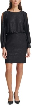 Jessica Howard Balloon-Sleeve Shimmer Dress